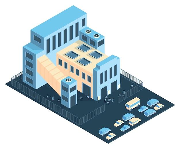 Composizione isometrica nella fabbrica dell'impianto industriale con la vista della zona e delle automobili del recinto degli impianti con l'illustrazione della gente,