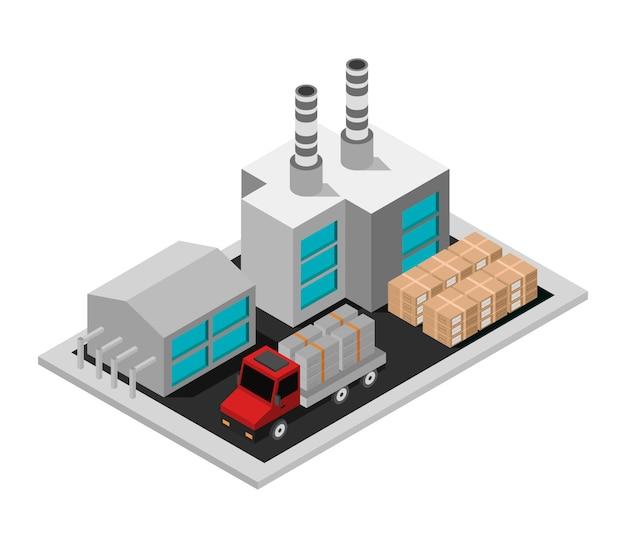 Sito dell'industria isometrica con camion di consegna