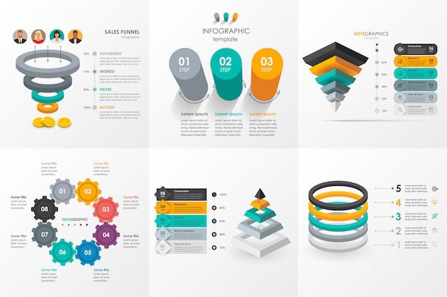 Set di schemi di infografica isometrica. infografica per il concetto di business.