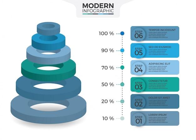 Design infografico isometrico con 6 opzioni leve o gradini