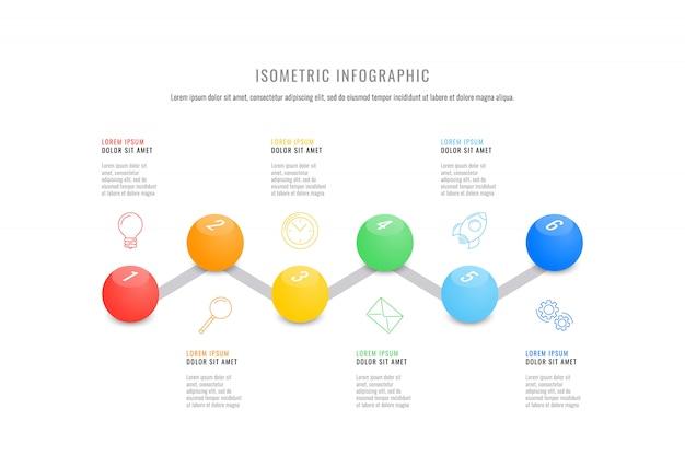 Modello di timeline infografica isometrica con realistici elementi rotondi 3d