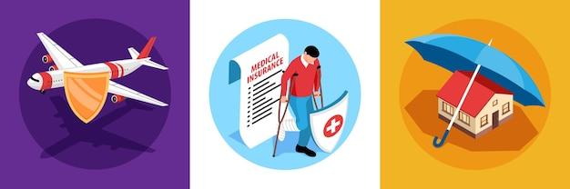 Set di composizioni assicurative isometriche