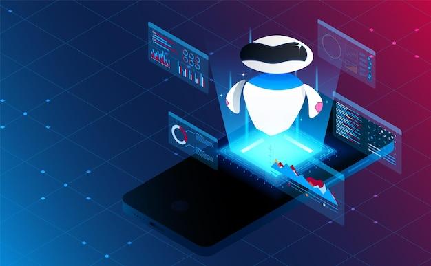 Analisi artificiale intelligente isometrica su smart phone.concetto futuristico.vettore e illustrazione