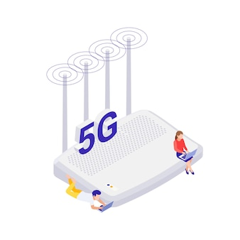 Icona isometrica della tecnologia internet 5g con router e persone con laptop su sfondo bianco illustrazione vettoriale