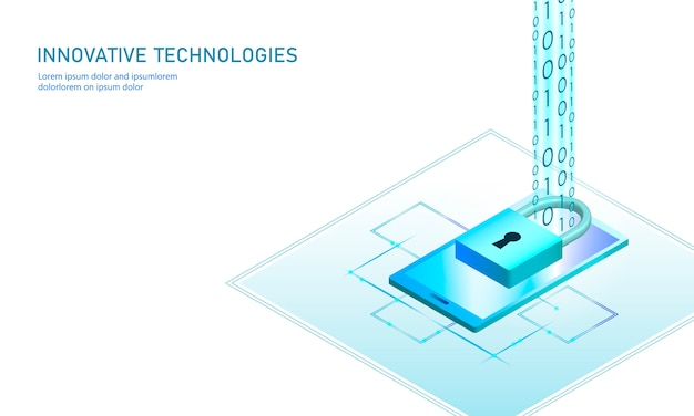Concetto isometrico di affari della serratura di sicurezza di internet. tecnologia futuristica blu incandescente isometrica connessione dati dati personali smartphone pc. illustrazione infografica 3d