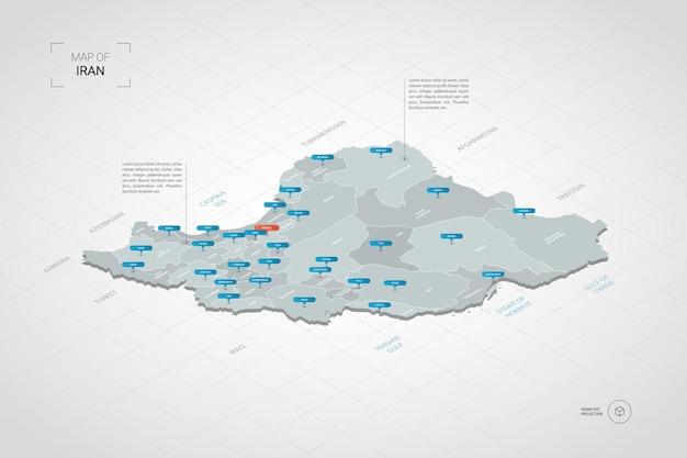 Mappa isometrica dell'iran. illustrazione stilizzata della mappa con città, confini, capitale, divisioni amministrative e indicatori di direzione; sfondo sfumato con griglia.