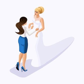 Isometrico è un insieme di sarti che cuciono abiti da sposa, un cliente su un vestito adatto. cucire l'abito da sposa migliore e lussuoso nell'atelier set 1