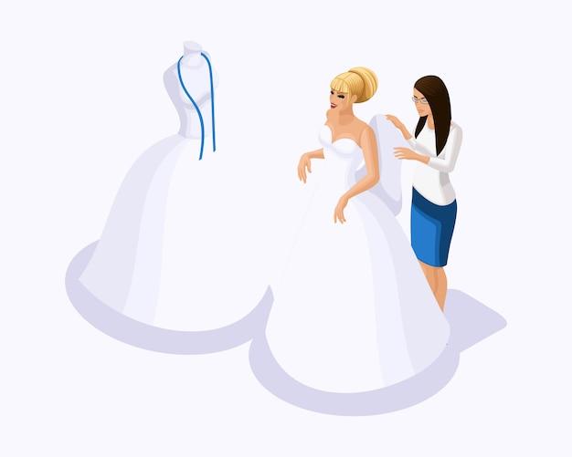 Isometrico è un insieme di sarti che cuciono abiti da sposa, un cliente su un vestito adatto. cucire l'abito da sposa migliore e lussuoso nell'atelier set 4