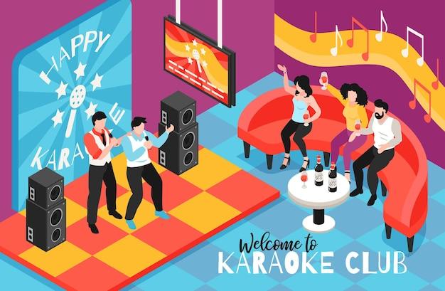 Illustrazione isometrica del club di karaoke