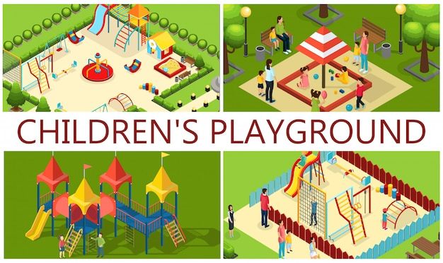 Isometrica composizione parco giochi per bambini con genitori bambini giostre tubi scivoli altalene altalena sandbox panchine colorate