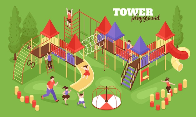 Composizione isometrica nel parco giochi per bambini con testo e paesaggi all'aperto con personaggi umani dell'illustrazione dei bambini in esecuzione