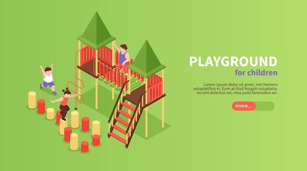 Banner web orizzontale di parco giochi per bambini isometrico con testo modificabile del pulsante di scorrimento e dispositivi con personaggi per bambini che giocano