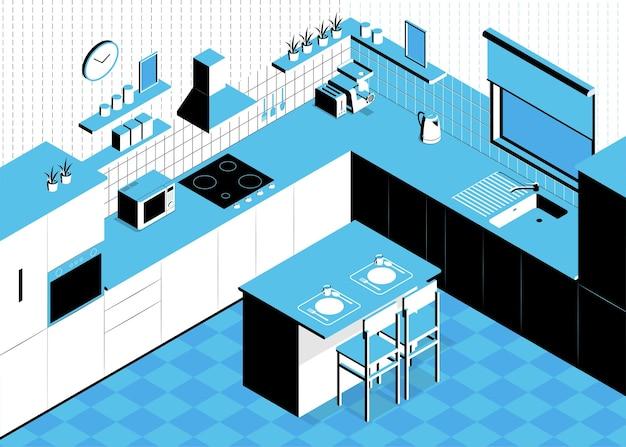 Composizione cucina isometrica con tavolo scenografico da interni e pareti con pensili e stoviglie lavello e forno