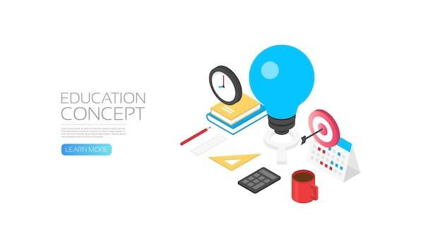 Concetto di conoscenza isometrica, lampadina e gadget dello studente