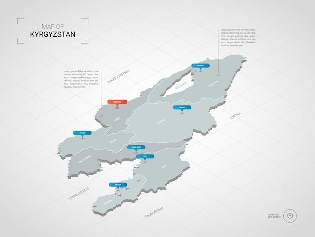Mappa isometrica del kirghizistan. illustrazione stilizzata della mappa con città, confini, capitale, divisioni amministrative e indicatori di direzione; sfondo sfumato con griglia.