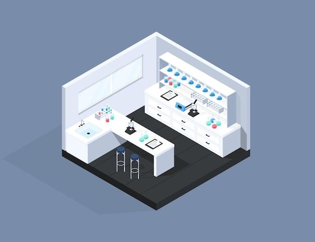 Illustrazione della stanza del laboratorio isometrica