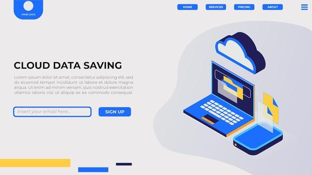 Pagina di destinazione isometrica per il salvataggio dei dati nel cloud