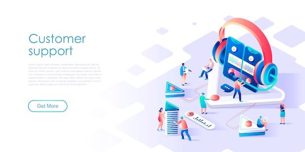 Pagina di destinazione isometrica supporto clienti o concetto di servizio piatto