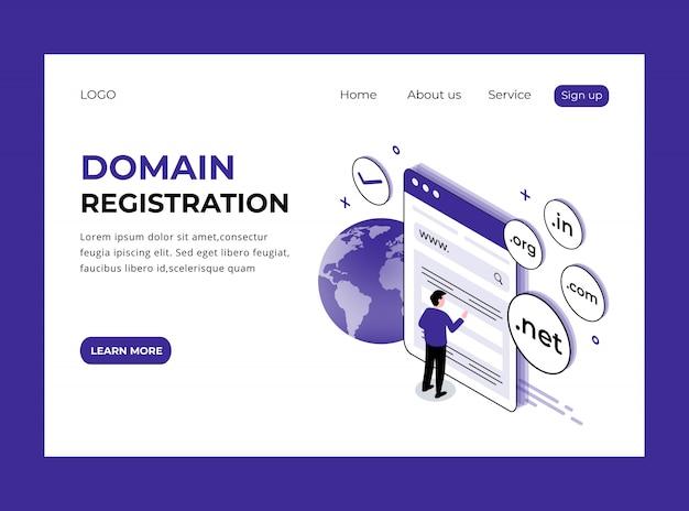 Pagina di destinazione isometrica della registrazione del dominio