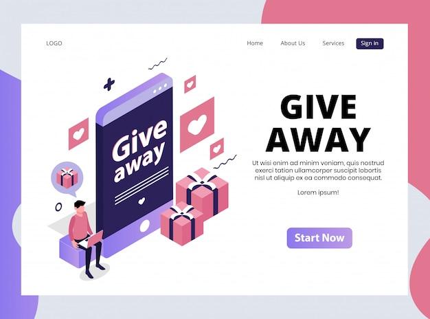 Pagina di destinazione isometrica del contest giveaway