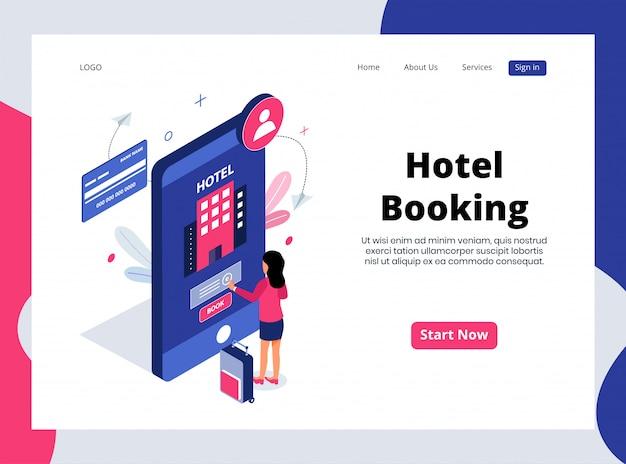 Pagina di destinazione isometrica della prenotazione alberghiera