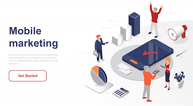 Pagina di destinazione isometrica mobile marketing o pubblicità