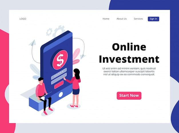Pagina di destinazione isometrica degli investimenti online
