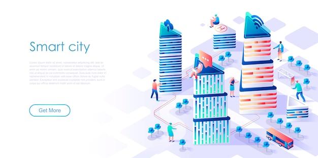 Pagina di atterraggio isometrica città intelligente o concetto piatto intelligente Vettore Premium