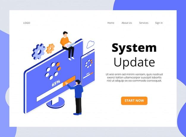 Pagina di destinazione isometrica dell'aggiornamento del sistema