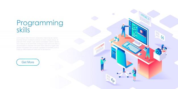 Modello di pagina di destinazione isometrica competenze di programmazione