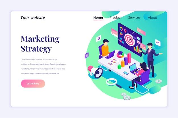 Concetto di landing page isometrica della strategia di marketing, uomini d'affari in riunione o discussione