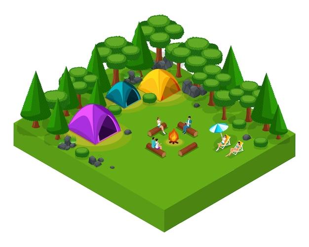 Paesaggio isometrico di riposo, amici nel fine settimana al campeggio, tende, gente accanto al fuoco, aria fresca, picnic, giorno libero, riposo attivo