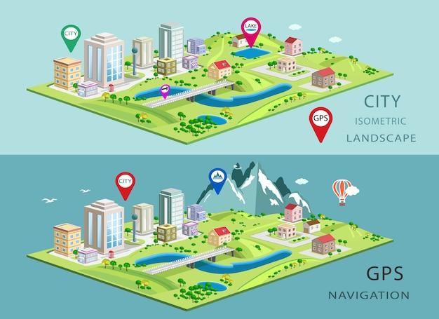 Paesaggi isometrici con edifici cittadini, laghi, montagne