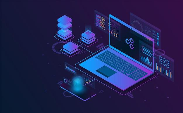 Le informazioni di analisi isometriche del computer portatile si collegano con l'illustrazione futuristica di concetto del server e dello smartphone Vettore Premium