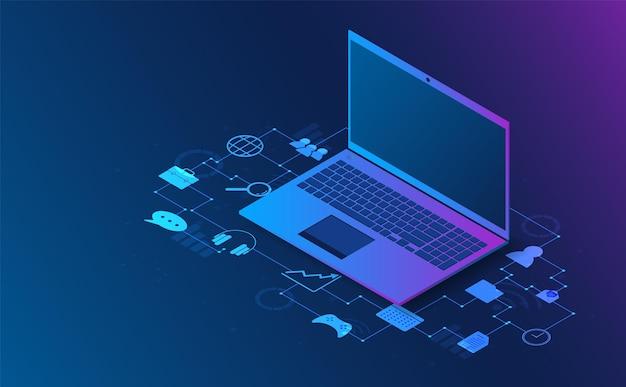 Illustrazione futuristica di concetto di informazioni di analisi isometrica del computer portatile