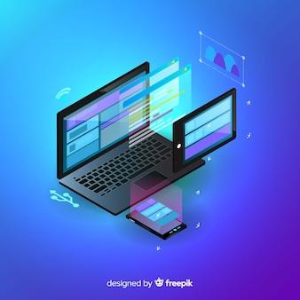 Sfondo tecnologia isometrica del computer portatile