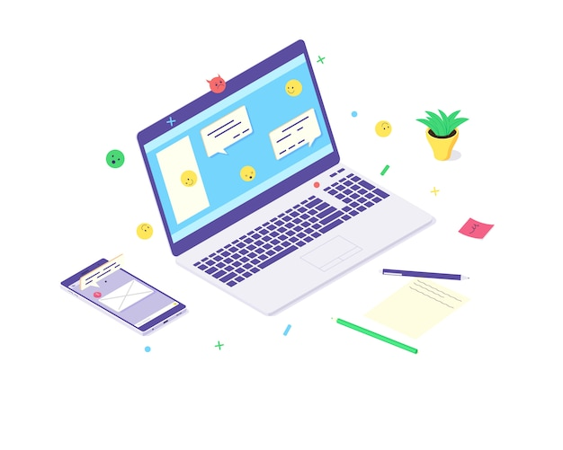 Illustrazione piana di comunicazione di chat di media sociali di smartphone di concetto di tecnologia del computer portatile isometrico. rete design web icone smartphone messaggi isolati su sfondo bianco