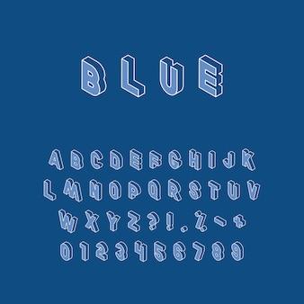 Lettere, numeri e segni isometrici con contorno bianco linea sottile sul classico blu. alfabeto vettoriale vintage in colori alla moda