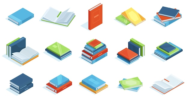Libri della biblioteca isometrica. libri di testo di istruzione scolastica, enciclopedia o set di illustrazioni vettoriali di letteratura scientifica. libri isometrici 3d in libreria