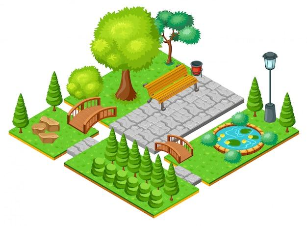 Modello di paesaggio isometrico del parco leggero