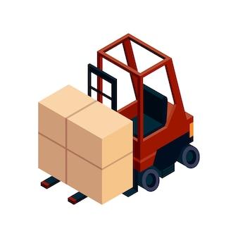 Logistica isometrica. elemento isometrico di trasporto. Vettore Premium
