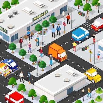 Illustrazione 3d isometrica del negozio del supermercato del centro commerciale
