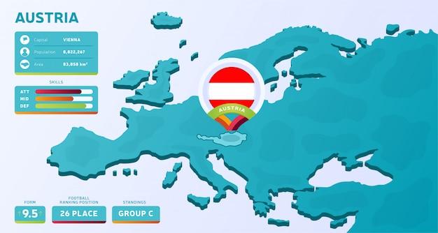 Mappa isometrica dell'europa con evidenziato paese austria