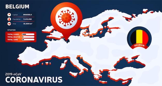 Mappa isometrica dell'europa con l'illustrazione evidenziata del belgio del paese. statistiche di coronavirus. pericoloso virus cinese ncov corona. infografica e informazioni sul paese.