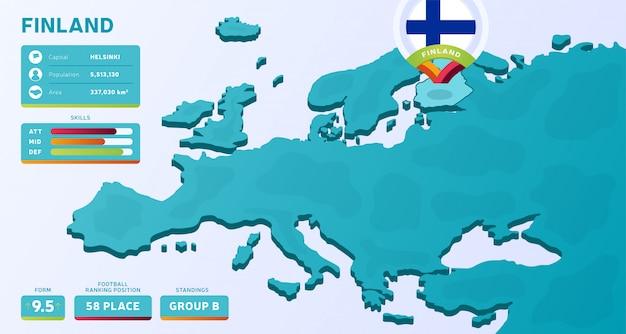 Mappa isometrica dell'europa con il paese evidenziato finlandia