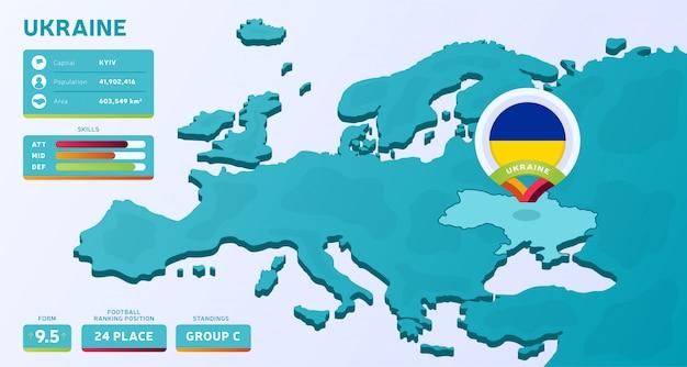 Mappa isometrica dell'europa con il paese evidenziato ucraina