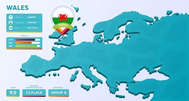 Mappa isometrica dell'europa con il paese evidenziato galles
