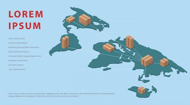 Mappa isometrica del mondo. importazione di modelli di blog di merci dalla cina. illustrazione.