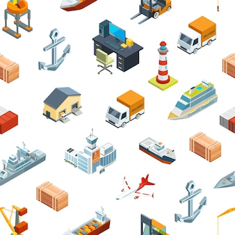 Logistica marina isometrica e modello di porto marittimo o illustrazione di sfondo. porto di trasporto, container per merci