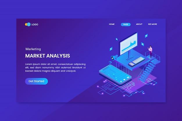 Pagina di destinazione del concetto di analisi di marketing isometrica